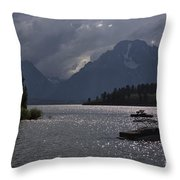 Boats On Jackson Lake - Grand Tetons Throw Pillow