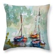 Boats On Lake  Throw Pillow