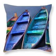 Boats On River Throw Pillow
