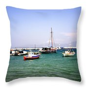 Boats On The Aegean Sea 1 - Mykonos - Greece Throw Pillow
