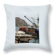 Boats On Morro Bay Throw Pillow