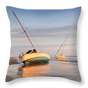 Accidentally - Boats On The Beach Throw Pillow