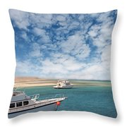 Boats On The Red Sea Coast Throw Pillow