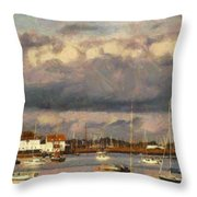 Boats On The River Throw Pillow