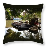 Boats On The Thames River Oxford England Throw Pillow