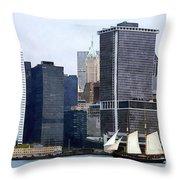 Boats - Schooner Against The Manhattan Skyline Throw Pillow
