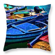 Boats Snuggling - Sicily Throw Pillow