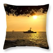 Boats Under The Hawaiian Sunset Throw Pillow