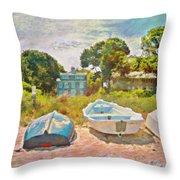 Boats Up On The Beach - Horizontal Throw Pillow