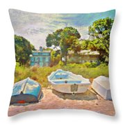 Boats Up On The Beach - Square Throw Pillow