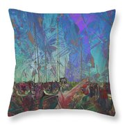 Boats W Painted Abstract Throw Pillow
