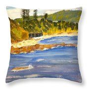 Boatsheds At Sandon Point Throw Pillow