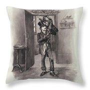 Bob Cratchit And Tiny Tim Throw Pillow