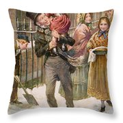 Bob Cratchit And Tiny Tim Throw Pillow