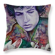 Bob Dylan-pink And Green Throw Pillow by Joshua Morton