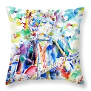 Bob Dylan Playing The Guitar - Watercolor Portrait.1 Throw Pillow