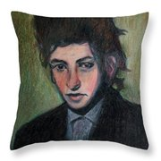 Bob Dylan Portrait In Colored Pencil  Throw Pillow