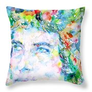 Bob Dylan Watercolor Portrait.3 Throw Pillow