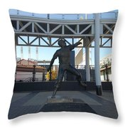 Bob Feller Bronze Statue Throw Pillow