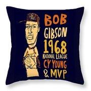 Bob Gibson St Louis Cardinals Throw Pillow