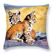 Bob Kittens Throw Pillow by Phyllis Kaltenbach