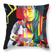 Bob Marley And Rasta Lion Throw Pillow