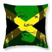 Bob Marley On Jamaican Flag Throw Pillow