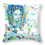 Bob Marley Playing The Guitar - Watercolor Portarit Throw Pillow