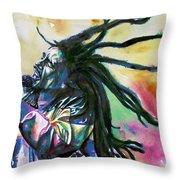 Bob Marley Singing Portrait.1 Throw Pillow