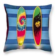 Bob Marley Surfing Display Throw Pillow