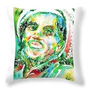 Bob Marley Watercolor Portrait.2 Throw Pillow