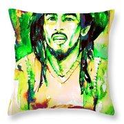 Bob Marley Watercolor Portrait.9 Throw Pillow