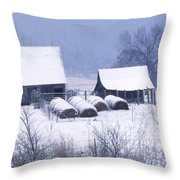 Bobby's Barn Throw Pillow by Garry McMichael