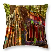 Box Car Along The Cheakamus River Throw Pillow