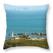 Boca Chita Lighthouse And Miami Skyline Throw Pillow