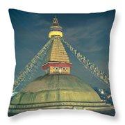 Bodhnath Stupa At Night In Kathmandu Throw Pillow