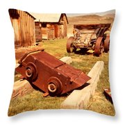 Bodie Ghost Town Ore Car Throw Pillow