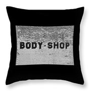 Body Shop Throw Pillow