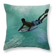Body Surfer Throw Pillow