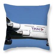 Boeing 747-400 Of Thai International Throw Pillow
