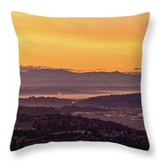 Boeing Seatac And Rainier Sunrise Throw Pillow