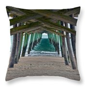 Bogue Banks Fishing Pier Throw Pillow