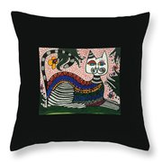 Boho Cat And Flowers Throw Pillow