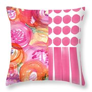 Boho Flower Patchwork- Watercolor Art Throw Pillow