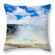 Boiling Point - Geyser Eruption In Yellowstone National Park Throw Pillow
