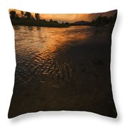 Boise River Dramatic Sunset Throw Pillow