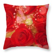 Bokeh Roses Throw Pillow by Cheryl Young