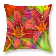 Bold And Beautiful Daylilies Throw Pillow