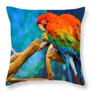 Bold Parrot Throw Pillow