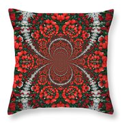 Tulips Kaleidoscope - Red And Green Throw Pillow